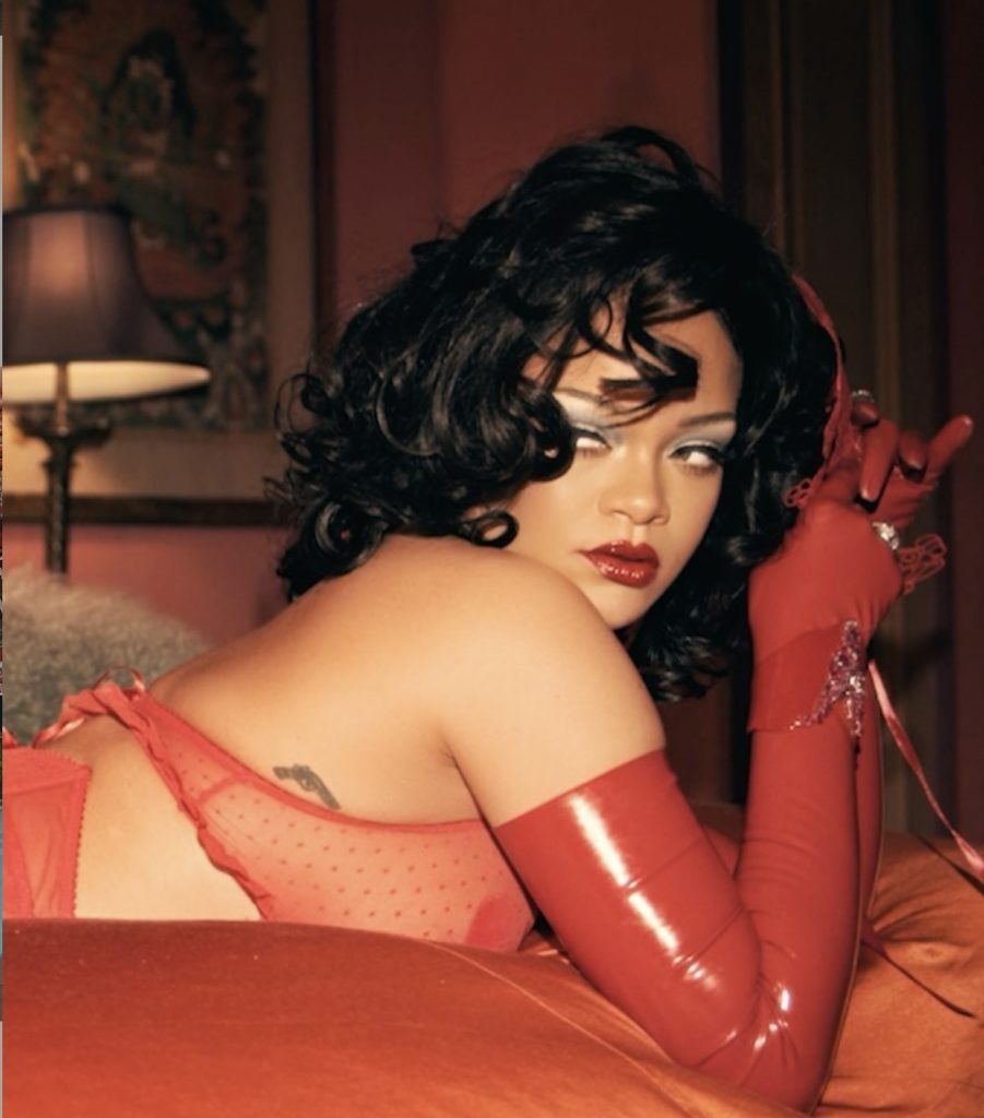 Rihanna and wigs on set